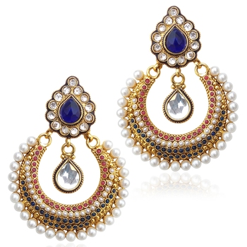 Red blue stones like a bed of flowers  with Blue Stone earring ab2b