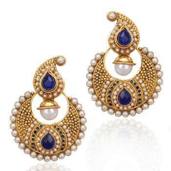 Designer Ethnic Indian Bollywood Jewelry- Elegant Deep Blue pearl earring ha65b