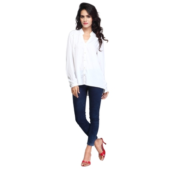 White plain georgette short-kurtis
