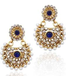 Beautiful Deep Blue Pearl Polki Earring Ethnic Indian Bollywood Jewelry C435b Wedding Season