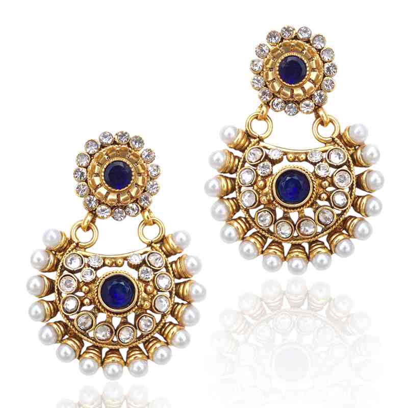 Beautiful Deep Blue Pearl Polki Earring Ethnic Indian Bollywood Jewelry C435b
