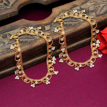 Gold Plated Shiny Clear Crystal Jhalar Style Beautiful Rajasthani Payals Anklets