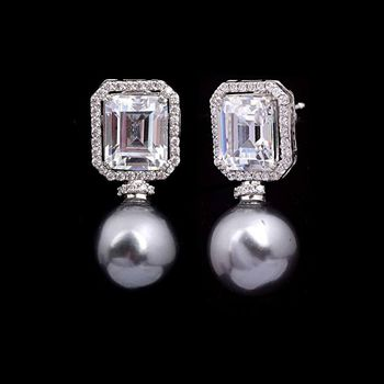 Solitaire Replica Silver And Swarovski Studs With Grey Pearl
