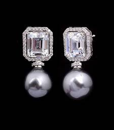Buy Solitaire Replica Silver and Swarovski Studs with Grey Pearl stud online