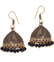 Gold Oxidised Black Color Beaded Jhumki Earrings For Girls/Women