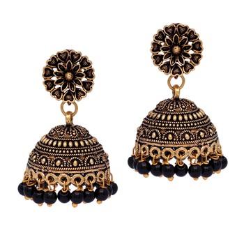 Floral Design Gold Oxidised Black Color Beaded Jhumki Earrings For Girls/Women
