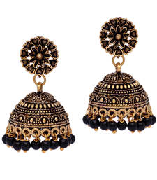 Floral Design Gold Oxidised Black Color Beaded Jhumki Earrings For Girls/Women