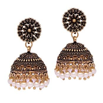 Floral Design Gold Oxidised White Color Beaded Jhumki Earrings For Girls/Women