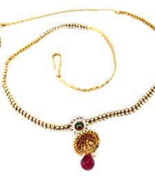 Buy Jhumki Cubic Zirconia Gold Plated Pearl Bridal Copper Kamarband Saree Waist Belt waist-belt online