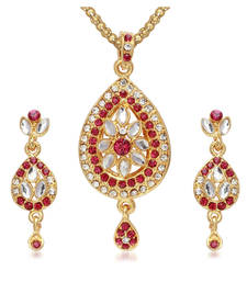 Buy Gold Plated Pink Austrian Stone Necklace Set Pendant online
