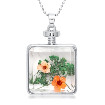 Orange Dried Flower Glass Chain Gold Plated Pendant Set