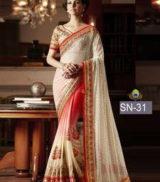 Buy White embroidered georgette saree with blouse wedding-saree online
