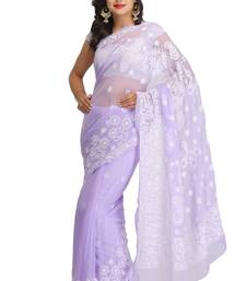 Buy Mauve embroidered faux georgette saree with blouse chikankari-saris online