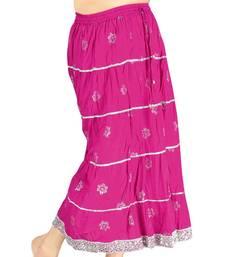Buy Sanganeri Hand Block Pink Pure Cotton Skirt skirt online