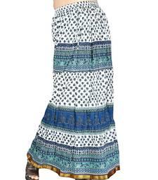 Buy Ethnic Zari Border Aqua Blue Pure Cotton Skirt skirt online