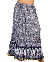 Buy Jaipuri Floral Designer Pure Cotton Long Skirt skirt online