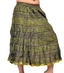 Buy Fashionable Ethnic Mehandi Green Cotton Skirt skirt online