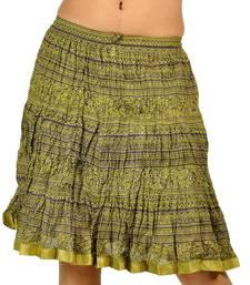 Buy Rajasthani Green color Cool Strips Short Skirt skirt online