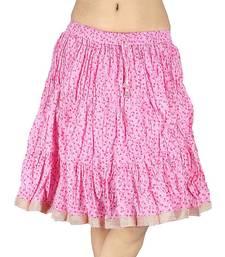 Buy Latest Pink Designer Pure Cotton Short Skirt skirt online