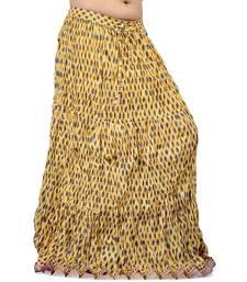 Buy Designer Rajasthani Yellow Cotton Long Skirt skirt online