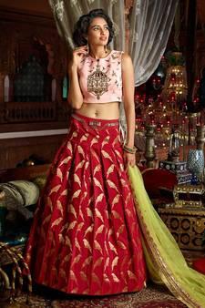 96d1b6acc20afb Maroon Handwork Art Silk Unstitched Lehenga