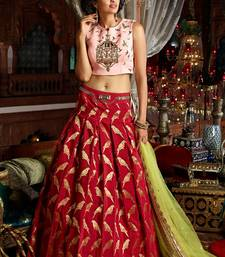 Buy Maroon Handwork Art Silk Unstitched Lehenga ghagra-choli online