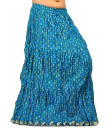 Buy Designer Turquoise Ethnic Cotton Long Skirt skirt online