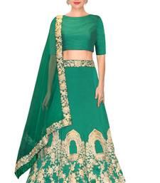 Buy  Green dori work taffeta silk semi stitched lehenga choli material with matching net dupatta lehenga-choli online