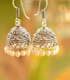 Buy Silver pearl jhumkas navratri-jewellery online