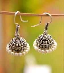 Silver pearl danglers drops