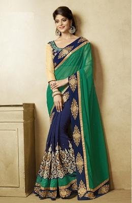 505a5a9990 IndianEFashion Green Georgette Embroidery Half & Half Self Designer Saree