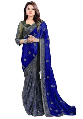 IndianEFashion Navy Blue ChiffonEmbroidery  Designer Saree