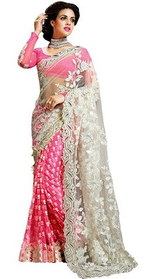 Pink embroidered Georgette With Net saree with blouse