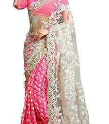 Buy Pink embroidered Georgette With Net saree with blouse black-friday-deal-sale online