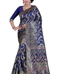 Buy Blue plain banarasi silk saree with blouse banarasi-silk-saree online