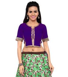 Purple art silk plain unstitched blouse