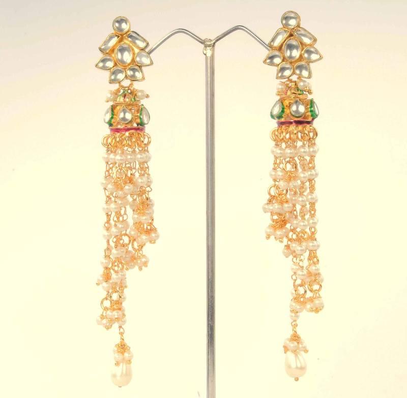 Buy Kundan Jhumka Earrings With Rich Pearls By Adiva