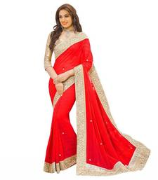 Buy Red Stone embellished georgette saree with blouse Piece georgette-saree online