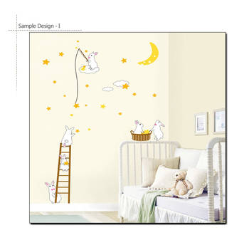 Rabbit Moon Star Wall Decal