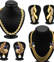 Buy Sublime 4 String Peacock Gold Plated Combo For Women Pack Of 2 women-ethnic-wear online