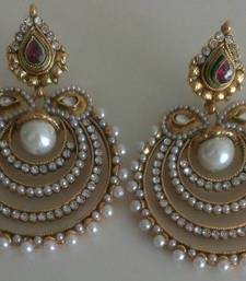 Buy Designer Pearl Earings with Semi Precious stones hoop online