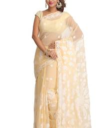 Buy Fawn embroidered faux georgette saree with blouse chikankari-saris online