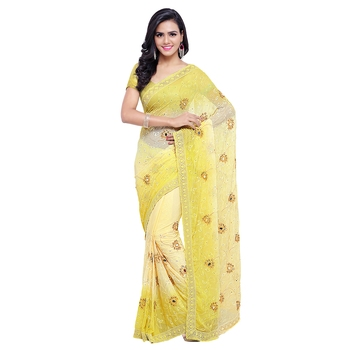 Yellow embroidered nazneen saree with blouse
