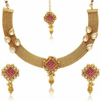 Pink pearl jewellery-combo