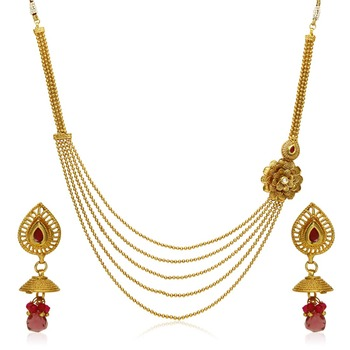 Red Pearl Necklace Sets