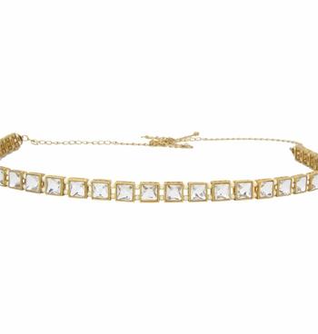 White crystal waist-belt