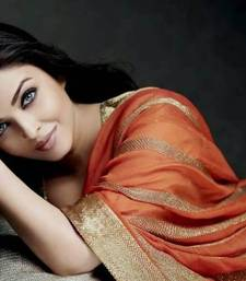 Buy Aishwarya Rai Golden & Orange Rust Saree aishwarya-rai-saree online