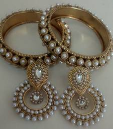 Buy Designer Pearl Earings with Traditional Bangles bangles-and-bracelet online