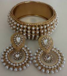 Buy Designer Pearl Earings with Traditional Kadas bangles-and-bracelet online