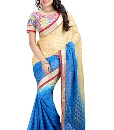 Buy Cyan embroidered jacquard saree with blouse heavy-work-saree online